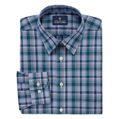 Stafford Travel Stretch Performance Super Shirt Long Sleeve Broadcloth Plaid Dress Shirt
