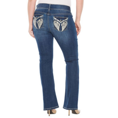 Star Stitch Embroidered Wing Pockets Bootcut Jeans - Plus