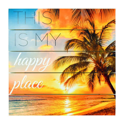 New View Happy Place Plank Art Wall Sign