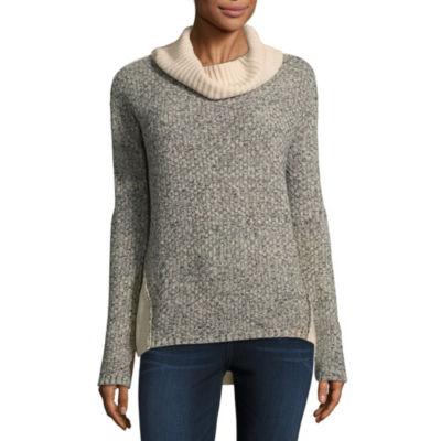 by&by Womens Cowl Neck Long Sleeve Sweatshirt Juniors