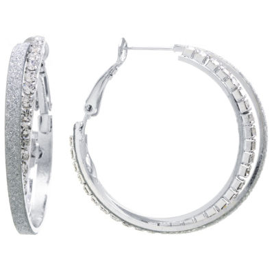 Sparkle Allure Sparkle Allure Crystal Earrings Clear Pure Silver Over Brass 36mm Round Hoop Earrings
