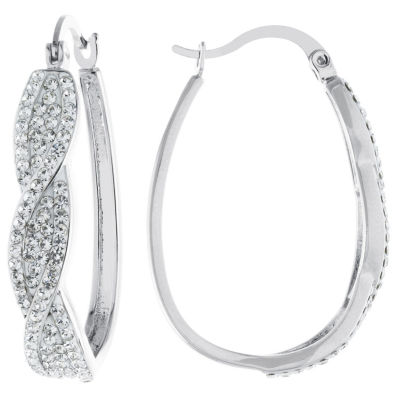 Sparkle Allure Sparkle Allure Crystal Earrings Clear Pure Silver Over Brass 35mm Oval Hoop Earrings