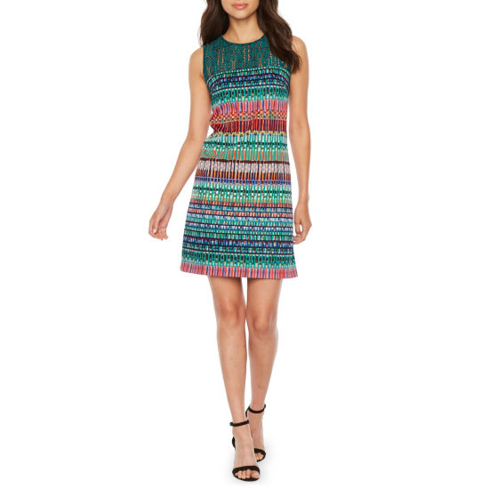 Darian Sleeveless Abstract Shift Dress
