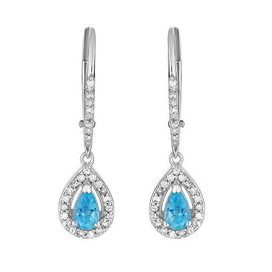 1 5 Ct Tw Genuine Blue Topaz 10k White Gold Pear Drop Earrings