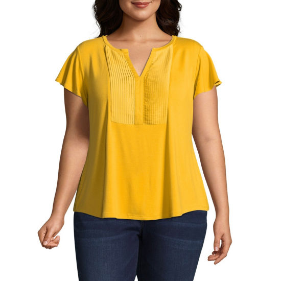 Liz Claiborne Pleated Bib Tee - Plus