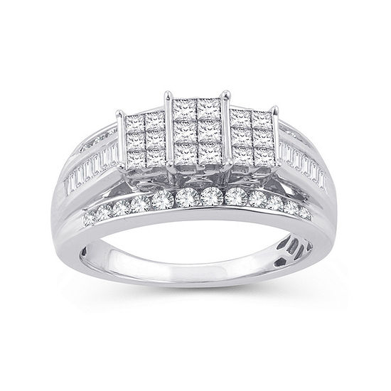 Womens 1 CT. T.W. Genuine White Diamond 10K White Gold Rectangular Engagement Ring