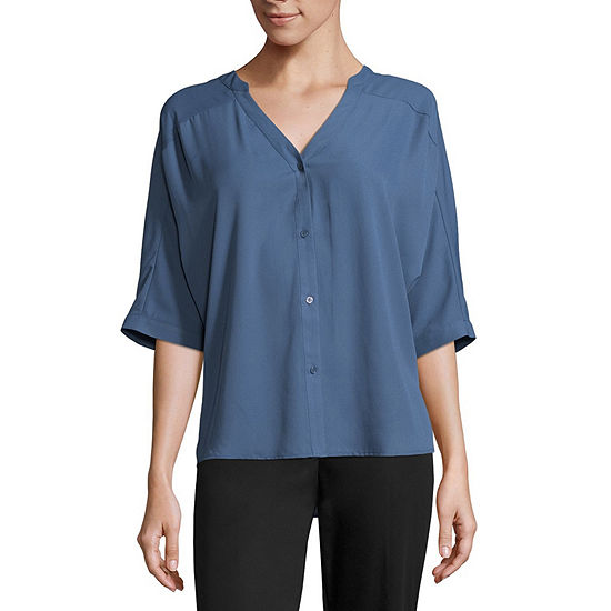 Worthington 3/4 Sleeve Boxy Dolman Shirt - Tall