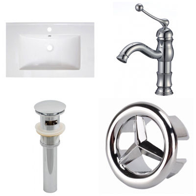 30-in. W 1 Hole Ceramic Top Set In White Color - CUPC Faucet Incl.  - Overflow Drain Incl.