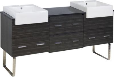 68.75-in. W 18-in. D Modern Plywood-Melamine Vanity Base Set Only In Dawn Grey
