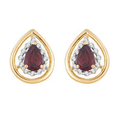 1/8 CT. T.W. Genuine Red Garnet 10K Gold 12.6mm Pear Stud Earrings