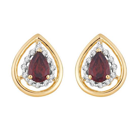1/8 CT. T.W. Genuine Red Garnet 10K Gold 12.6mm Pear Stud Earrings