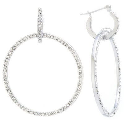 Sparkle Allure Sparkle Allure Crystal Earrings Clear Pure Silver Over Brass 50mm Round Hoop Earrings