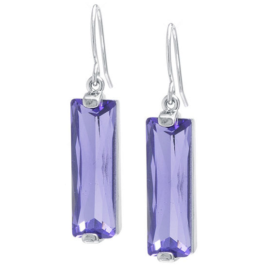 Sparkle Allure Crystal Earrings Purple Pure Silver Over Brass Rectangular Drop Earrings