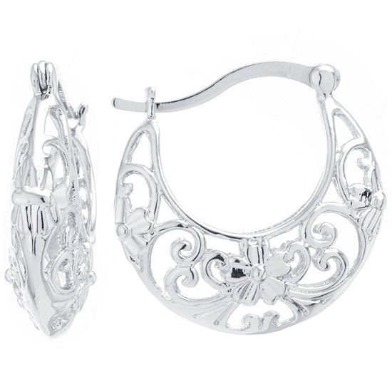Silver Reflections Silver Plated Boxed Pure Silver Over Brass 25mm Round Hoop Earrings