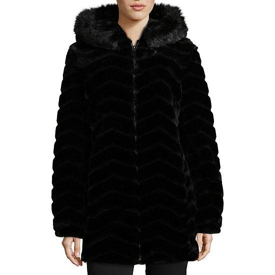 Liz Claiborne Faux Fur Hooded Heavyweight Faux Fur Coat