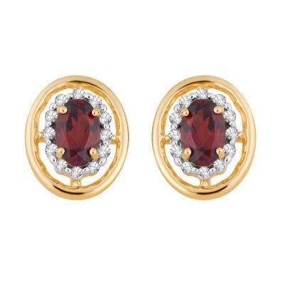 1/8 CT. T.W. Genuine Red Garnet 10K Gold 11.4mm Oval Stud Earrings