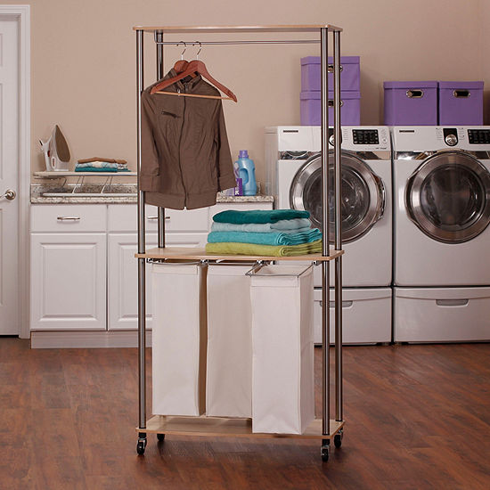 Household Essentials 3-Bag Laundry Center Sorter With Hanging Rod