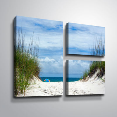 Brushstone Ocean Path 3-pc. Flag Gallery Wrapped Canvas Wall Art
