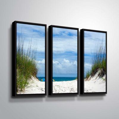 Brushstone Ocean Path 3-pc. Floater Framed CanvasWall Art