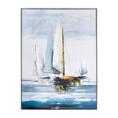 New View Sail Boat Embellished Canvas Art