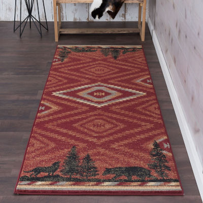 Tayse Colorblock Wildlife Novelty Lodge Runner Rug