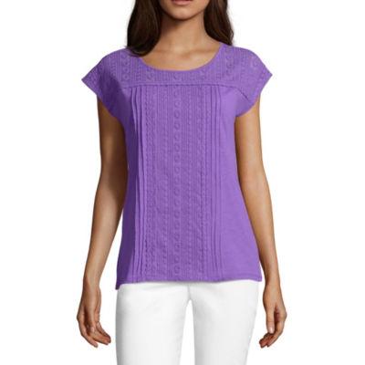 89th & Madison-Womens Scoop Neck Short Sleeve T-Shirt