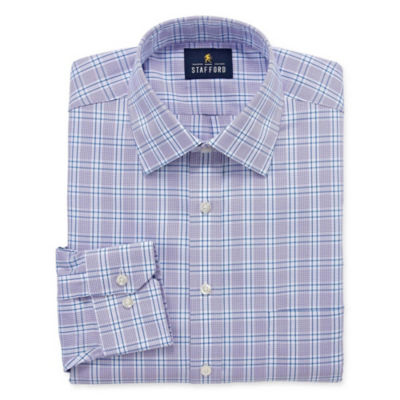 Stafford Executive Non-Iron Cotton Pinpoint Oxford Long Sleeve Grid Dress Shirt