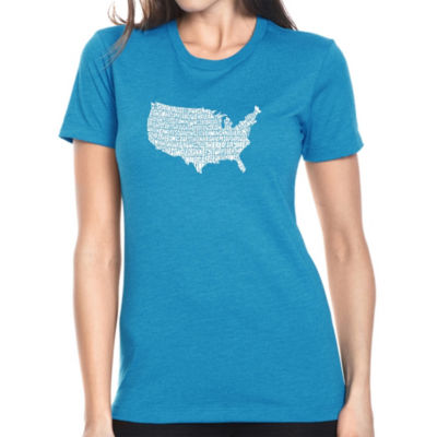 Los Angeles Pop Art Women's Premium Blend Word ArtT-shirt - THE STAR SPANGLED BANNER