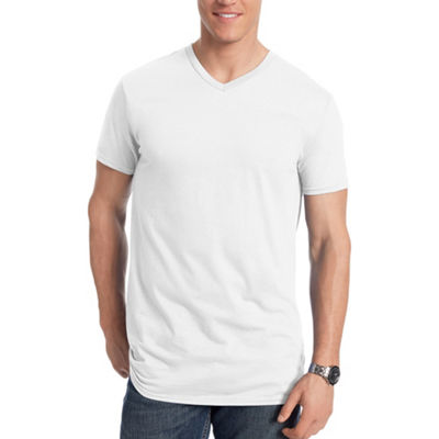 Hanes Mens V Neck Short Sleeve Cooling T-Shirt