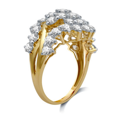 Womens 3 CT. T.W. White Diamond 10K Gold Cluster Ring