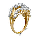 Womens 3 CT. T.W. Genuine White Diamond 10K Gold Cluster Cocktail Ring