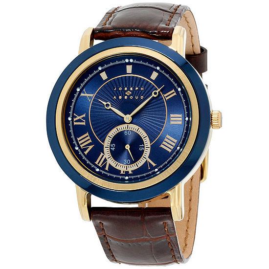 Joseph Abboud Mens Brown Leather Strap Watch-Ja3099g648-709