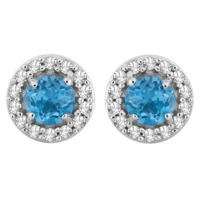 1/6 CT. T.W. Genuine Blue Topaz 10K White Gold 8.1mm Round Stud Earrings
