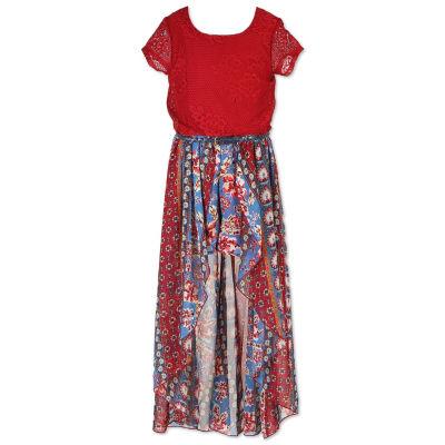 Speechless Belted Short Sleeve Cap Sleeve Maxi Dress - Big Kid Girls
