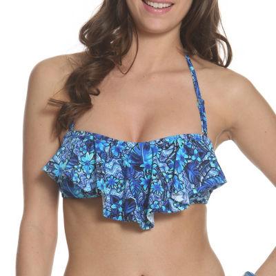 Sun and Sea Trading Company Tropical Haze Ruffle Front Bikini Top