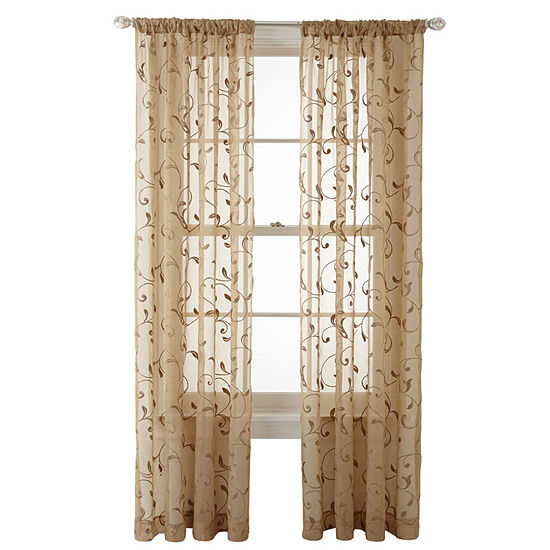 JCPenney Home Harmon Sheer Rod-Pocket Single Curtain Panel