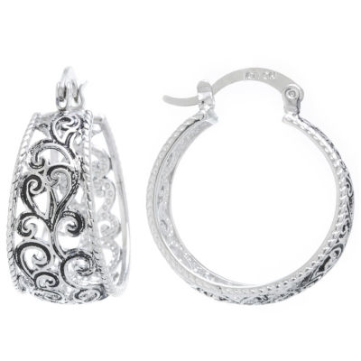 Silver Reflections Silver Plated Boxed Hoops Pure Silver Over Brass 25mm Round Hoop Earrings