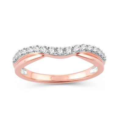 Womens 1/4 CT. T.W. Genuine White Diamond 10K Rose Gold Wedding Band