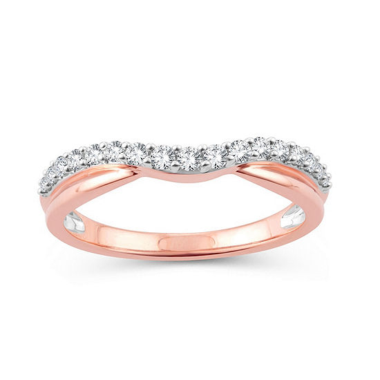 1/4 CT. T.W. Genuine White Diamond 10K Rose Gold Wedding Band