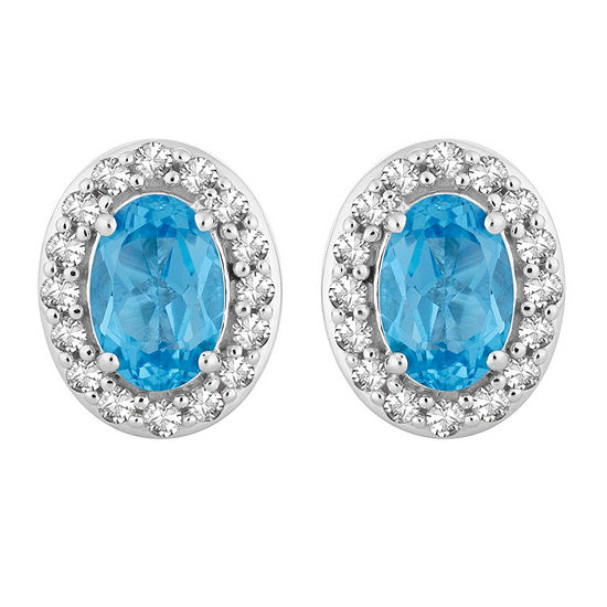 1/6 CT. T.W. Genuine Blue Topaz 10K White Gold 9.1mm Oval Stud Earrings
