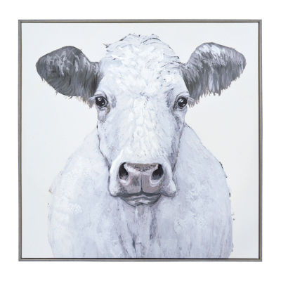 New View Framed Cow Embellished Canvas Canvas Art