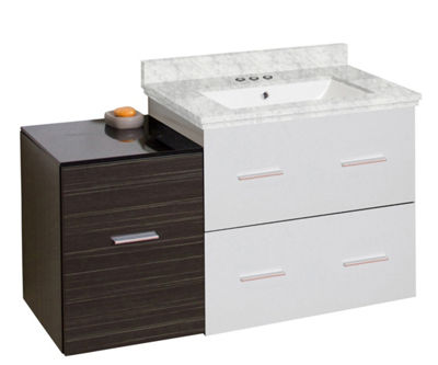 37.75-in. W Wall Mount White-Dawn Grey Vanity SetFor 3H4-in. Drilling Bianca Carara Top White UM Sink