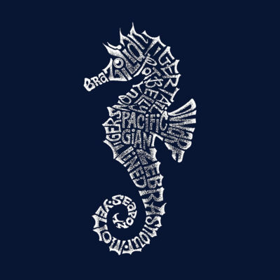 Los Angeles Pop Art Men's Big & Tall Raglan Baseball Word Art T-shirt - Types of Seahorse