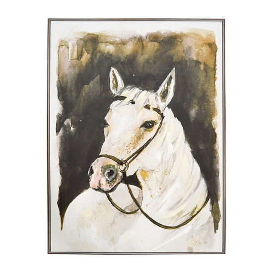 New View White Stallion Framed Embellished Canvas Canvas Art
