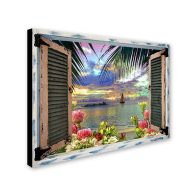Trademark Fine Art Leo Kelly Tropical Window to Paradise III Giclee Canvas Art