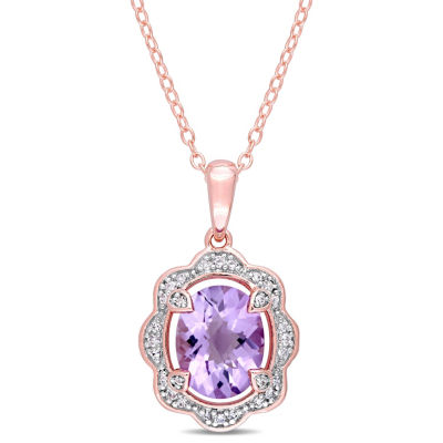 Womens 1/10 CT. T.W. Genuine Purple Amethyst 18K Rose Gold Over Silver Pendant Necklace