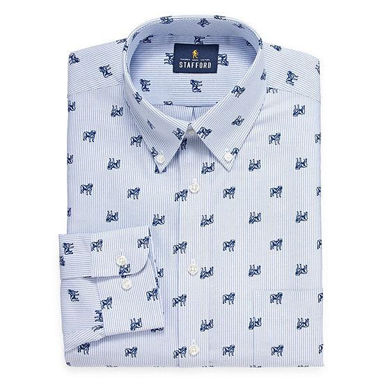 Stafford Travel Wrinkle Free Stretch Oxford Big And Tall Long Sleeve Dress Shirt