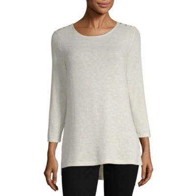 Liz Claiborne-Womens Crew Neck 3/4 Sleeve T-Shirt