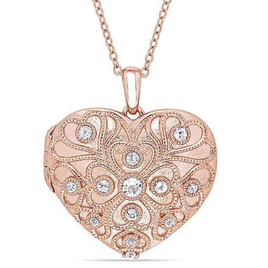 Womens Genuine White Topaz 18K Rose Gold Over Silver Heart Pendant Necklace