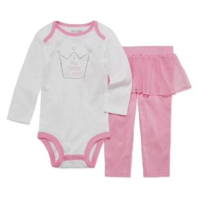 Okie Dokie Princess Long Sleeve Bodysuit and Tutu Pant Set - Baby Girl NB-24M
